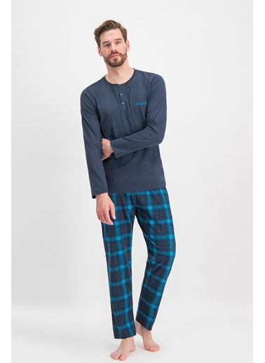 Arnetta Arnetta Anstoble Ekose Lacivert Erkek Pijama Takımı Yeşil